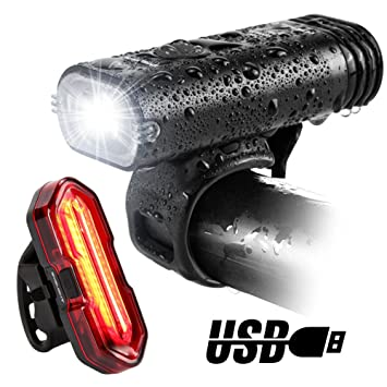 Essentials Cycling Set Front Light and Rear Light and Portable Bike Pump Set.