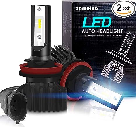 H11 H8 H9 Led Headlight Bulbs Sampino Headlights All In One Conversion Kit 2packs Low Beam Fog Light Bulb 8000lm Set 4000lm Per Bulb 5500k 12xcsp