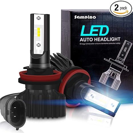 H11/H8/H9 LED Headlight Bulbs – Sampino Headlights All-in-One Conversion  Kit 2Packs Low Beam/Fog Light Bulb 8000lm/set (4000lm per bulb) 5500K  12xCSP