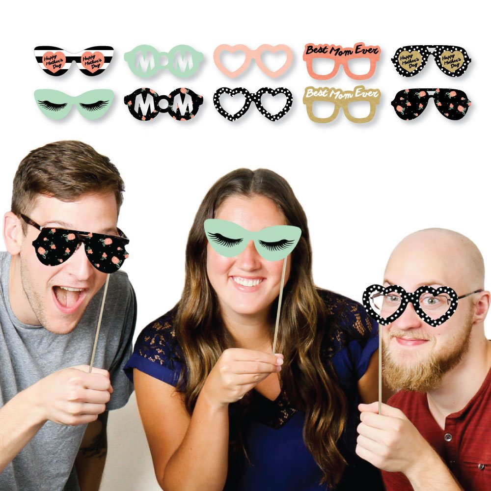Paper Card Stock Mothers Day Photo Booth Props Kit 10 Count Big Dot of Happiness Best Mom Ever Glasses