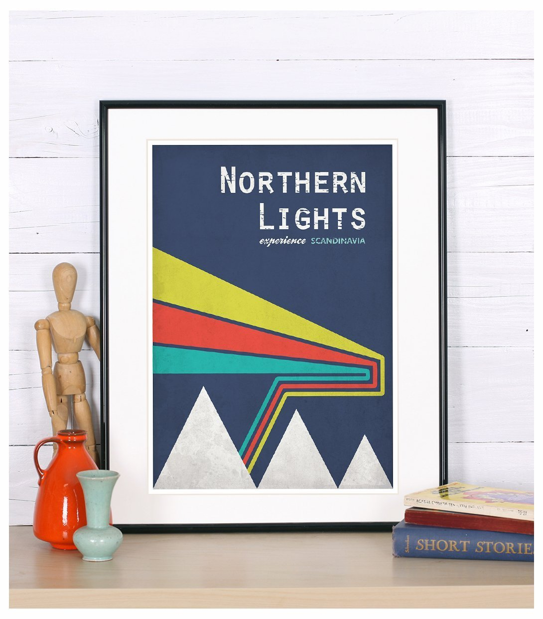 Travel poster, northern lights, Norway, Scandinavia, landscape, mountains, retro art print