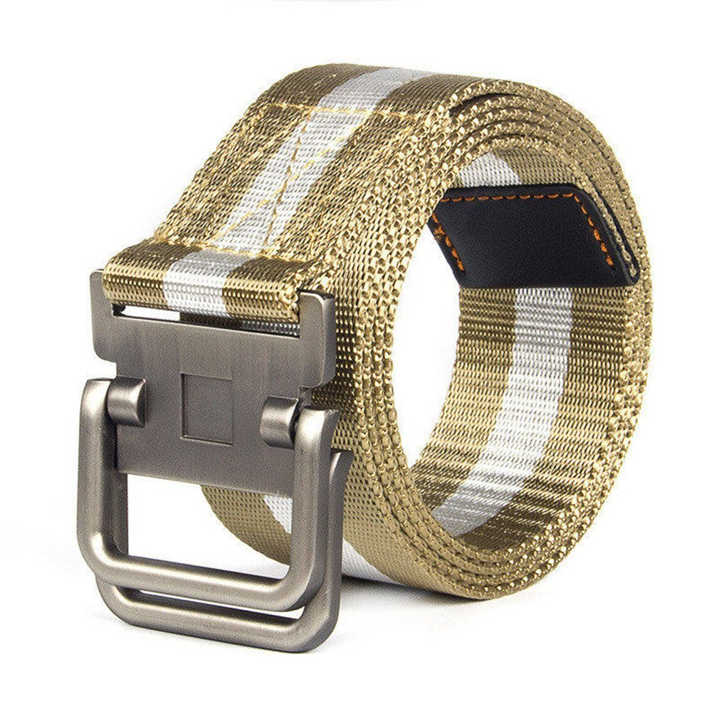 FCNHXJ Alloy Double Ring Buckle Belts Outdoor Combat Patchwork Army Knitted Canvas Belts Waistband Tactical Belt
