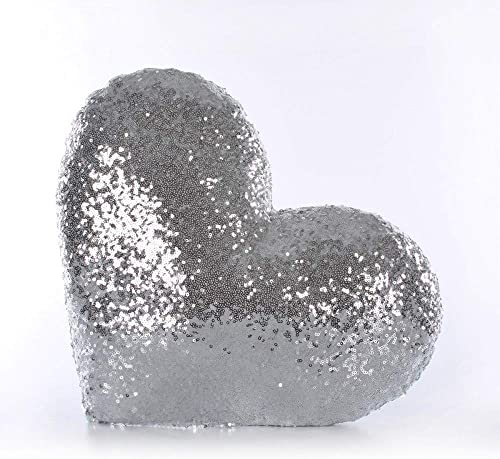 myshop Silver Sequins Pillow, Heart Cushion,Silver Heart Pillow, Sequin Throw Pillow, Master Bedroom Pillow, Teen Girl Room Decor, Sparkly Pillows