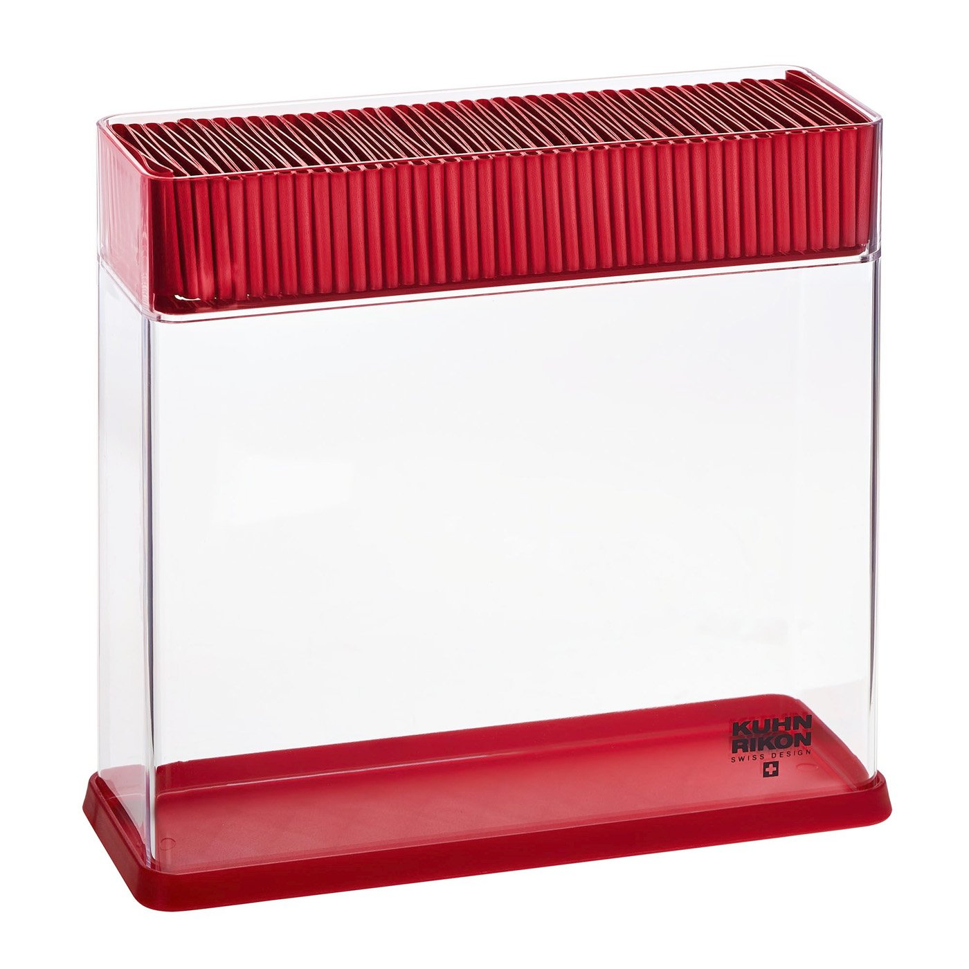 Kuhn Rikon Vision Clear Slotted Easy-to-Clean Knife Stand/Block, Rectangle/RED
