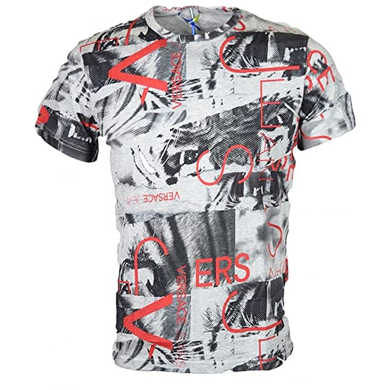 ee4c4bd640da Amazon.com  Versace Jeans Printed All-over Grey T-Shirt S Grey  Clothing