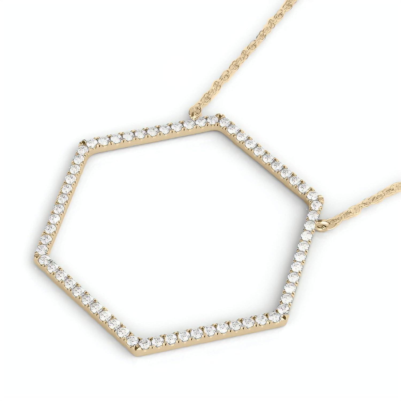 Frostrox 10K Gold 0.33 Carat Round Cut Open Hexagon Geometric Diamond Pendant