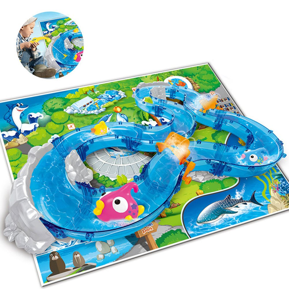 Umiwe Mountain Lake Kids Waterplay Go Fishing Toy Game Race Track Set with Two Fishing Rods and Play Mat for Summer Beach Sandpit Sand Garden Outdoors Fun