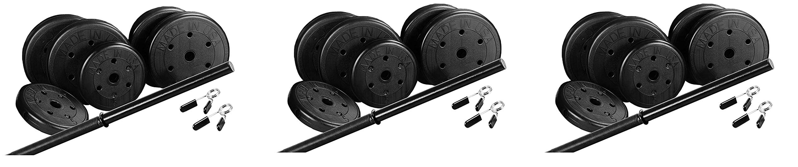 US Weight Duracast 55 lb. Barbell Weight Set with Two 5 lb. Weights, Four 10 lb. Weights, One 4 lb. Two-Piece Threaded Barbell Bar, Two Locking Spring Clips (Thrее Расk)