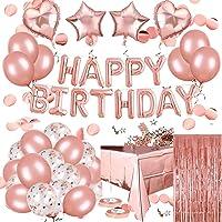 Globos Cumpleaños Decoracione, Feliz Cumpleaños Decoración Fiesta Cumpleaños Oro Rosa, Suministros y Decoración Globo para Hombres y Mujeres Adultos Decoración de FiestaK Manteles,Confetti,Globos de Látex Impresos