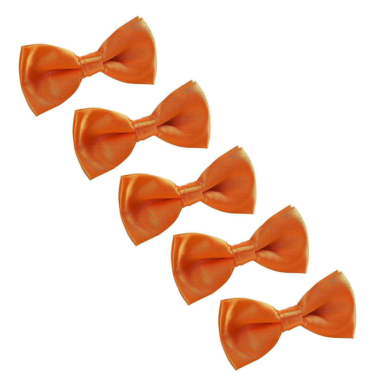 AWAYTR Boys Pre tied Adjustable Bowtie White Wedding Party Graduation Formal Event Solid Color Bow Tie 5 Pcs
