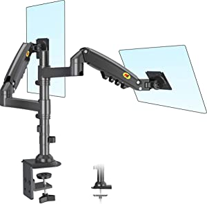 NB North Bayou Dual Monitor Arm Monitor Stand Desk Mount Height Adjustable VESA Bracket for 17 to 27 Inch Computer Screen - Holds up to 19.8lbs for Each Monitor with C Clamp, Grommet Base H160-B
