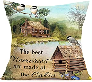 """Fukeen The Best Memories are Made at The Cabin Throw Pillow Covers Lake Birds PineTree LandscapePainting Decorative Pillow Cases Rustic Farmhouse Indoor Decor Cotton Linen 18""""x18"""" Cushion Cover"""