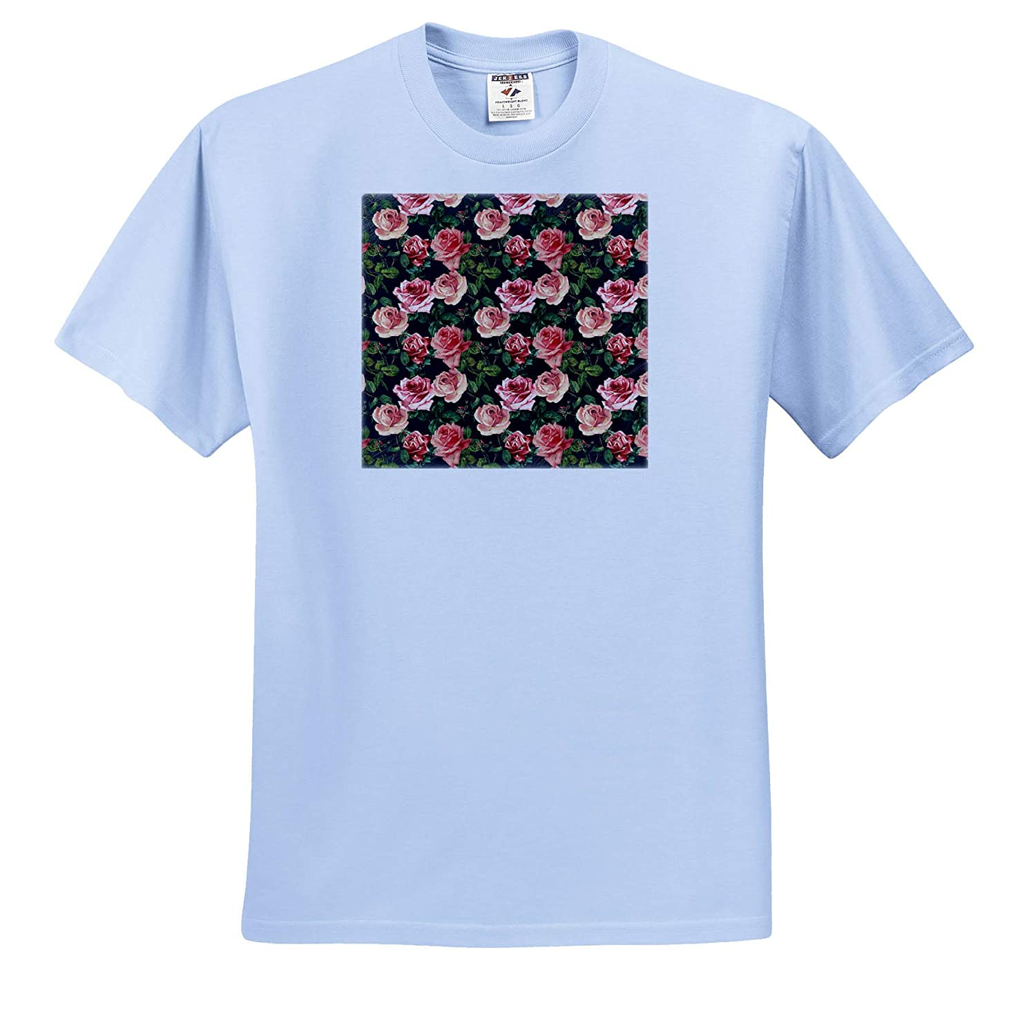 Vintage Victorian Flower Pattern T-Shirts 3dRose Uta Naumann Watercolor Pattern Pink Retro Roses on Black
