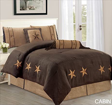 6 Piece Luxury WESTERN Bedding   Oversize KING Size CABIN Micro Suede  Comforter Set   Dark