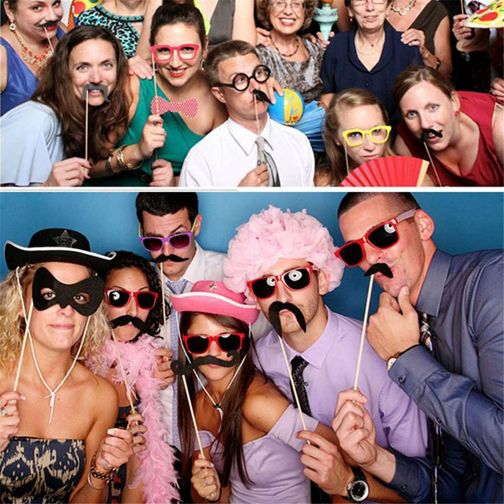 DIY Required Wedding Party Photo Booth Props-58 Printed Pieces Wooden Sticks Strike For Wedding Decoration