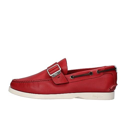SALVATORE FERRAGAMO WORLD - Mocasines de Piel para hombre rojo rojo rojo Size: 44 EU: Amazon.es: Zapatos y complementos
