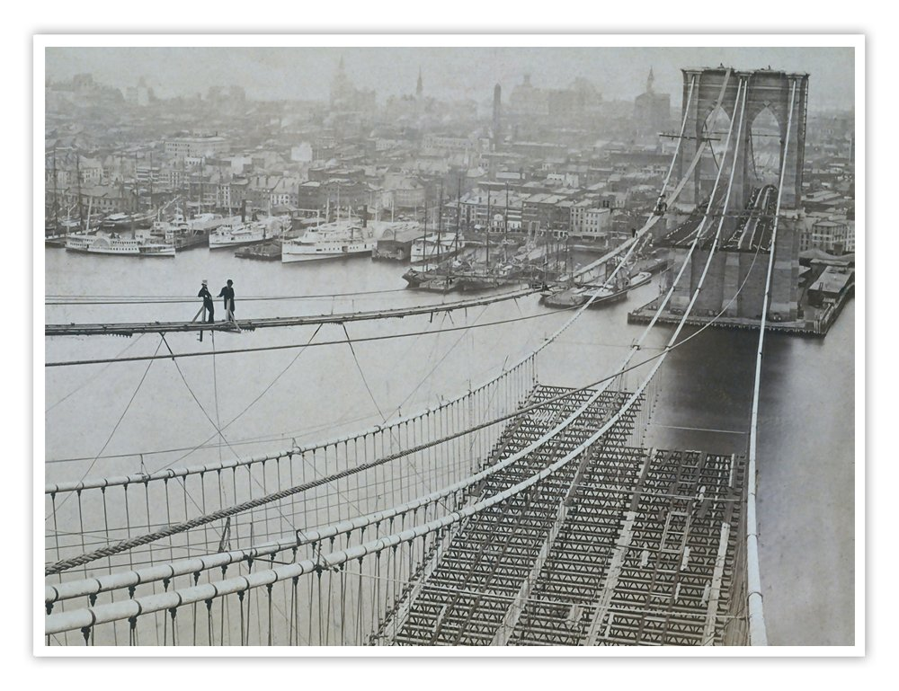 ブルックリン橋建設1881ポスターハンドメイドGicléeギャラリー印刷New York City Architecture Nyc AugustusジョンRoeblingワシントン( 18 x 24