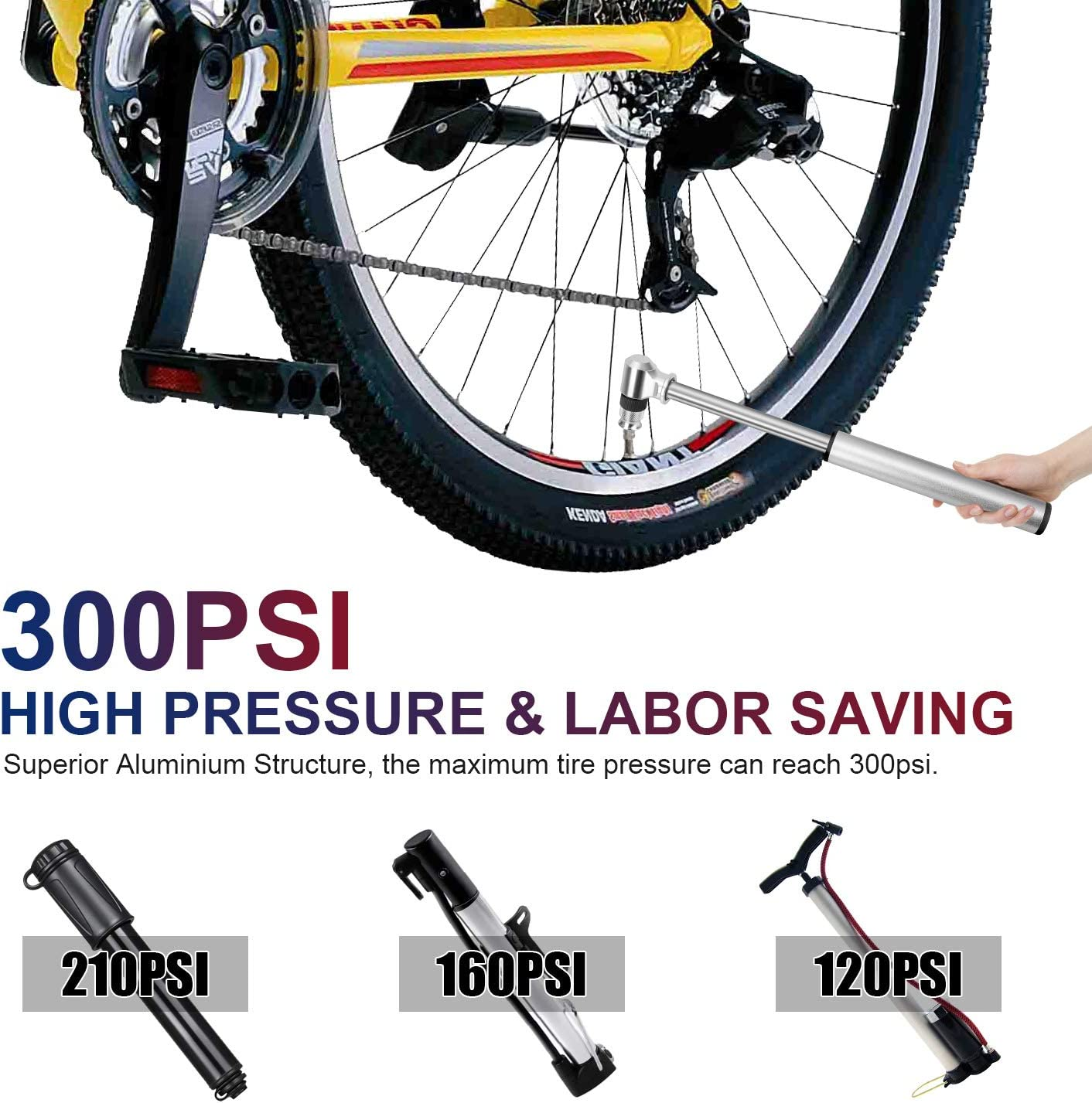Bike Pump Bike Repair Tool Kit,300 PSI Aluminum Mini Bicycle Pump with Ball Needle and Frame Mount,Accurate Fast Inflation,Fits Presta /& Schrader Valve Bike Pump for Road,16 in 1 Bicycle Tool Kit