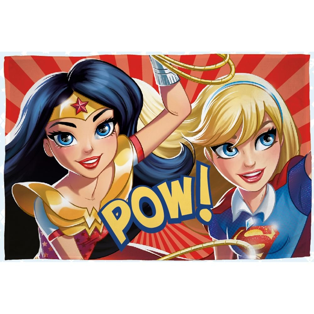 DC Comics Superhero Girls 'Super' Fleece Blanket - Large Print Design Character World uk home CDKH4 DHGSUPFL001UK