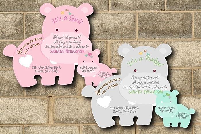 Amazon personalized hippo baby shower invitations twin personalized hippo baby shower invitations twin invitation boy girl jungle theme filmwisefo
