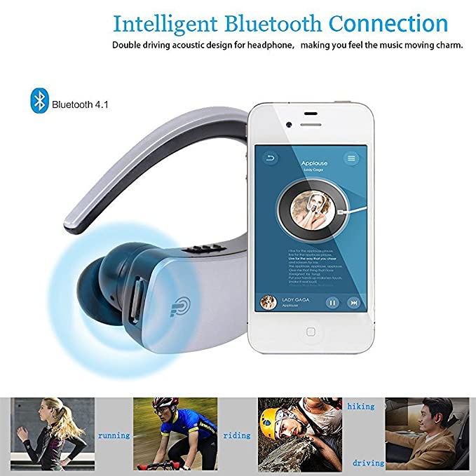 Accessories Silver Audio & Video Accessories Vacio Wireless Bluetooth Headphone In-Ear Outdoor Sport Stereo Hands-free Noise Cancelling Earbuds with Mic for iPhone X/8/8plus/7/7plus,Galaxy Note8/8s,iPad/Other Bluetooth Smartphone