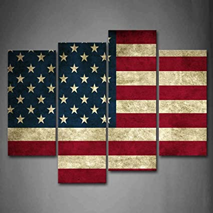American Flag In Red White And Blue Wall Art Painting Pictures Print On  Canvas Art The