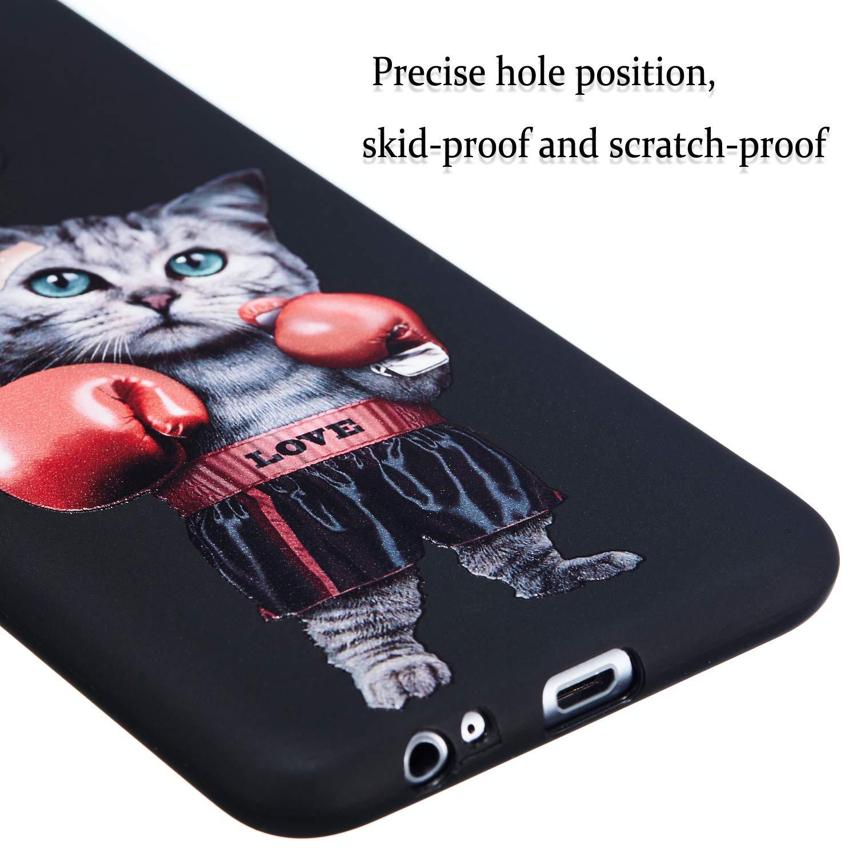 A6 Plus 2018 Custodia in Silicone Protettiva Posteriore Morbido Antiurto Nero Black Modello Carino Gomma Cuscino Bumper Cellulari Guscio Custodie Bianca QC-EMART Cover per Samsung Galaxy A6+