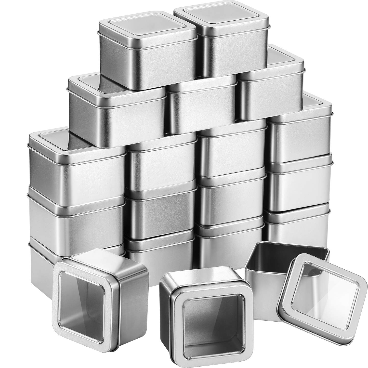 Pangda 20 Pack Empty 4-Ounce Capacity Clear Top Square Silver Metal Tins Great for Candles, Gifts, Candies, and Treasures
