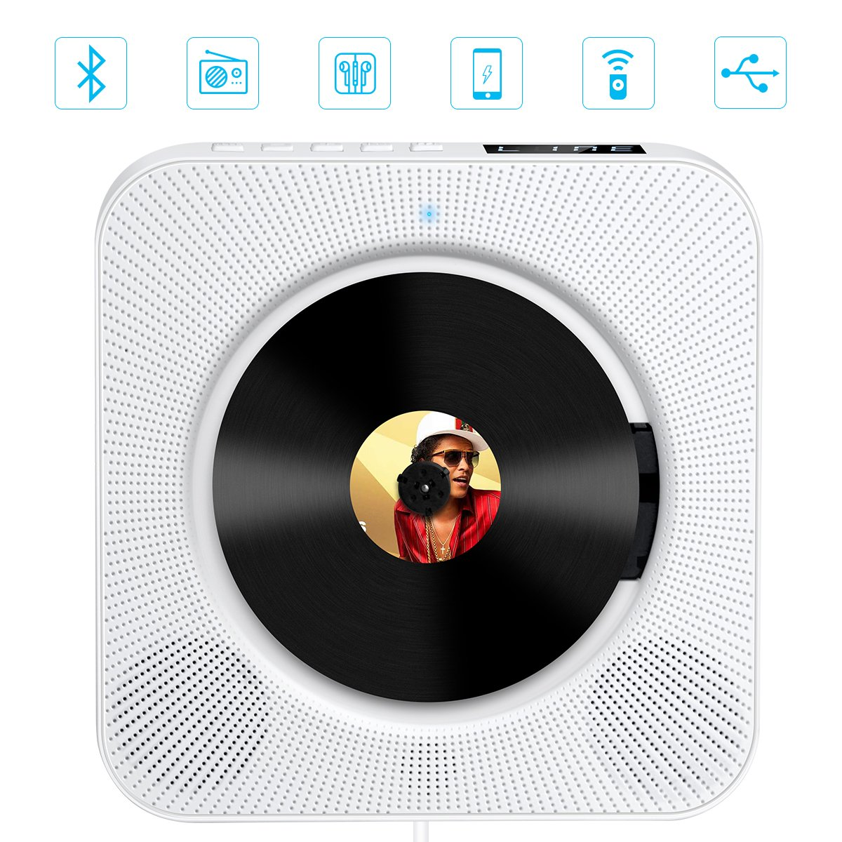 CD Player with Bluetooth, Govee Portable CD Player with Remote Control Wall Mountable CD Player with Screen FM Radio HiFi Speaker CD Music Player Supports USB, SD Card Aux Input Output 6 Playing Modes