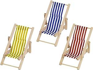 AUEAR, 3 Pcs 1:12 Scale Miniature Foldable Dollhouse Chair Accessory Deck Chair for Dollhouse Decoration (Style B)