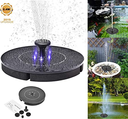 Solar Powered Fountain Pump with LED Light Pond Solar Fountain Pump Bird Bath Fountain Solar Power Water Floating Pump Kit with Submersible Pump for Bird Bath Garden Fountain