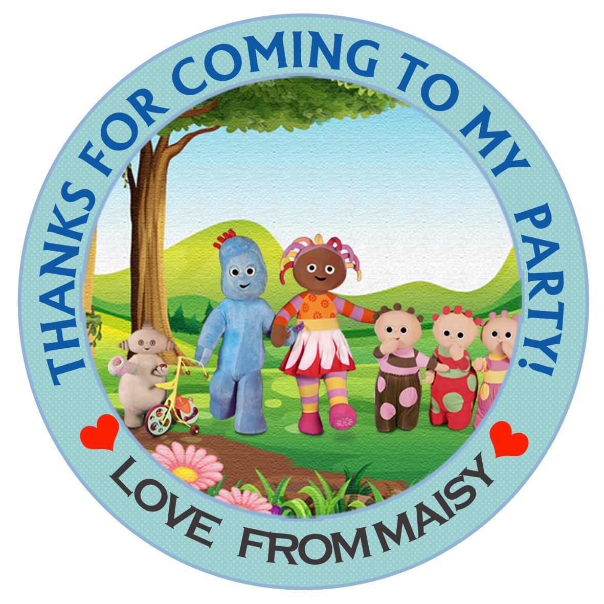 Personalised In the night garden Boys 50mm 2 Party Stickers thank you labels, thank you for coming to my party labels (15) design buddies