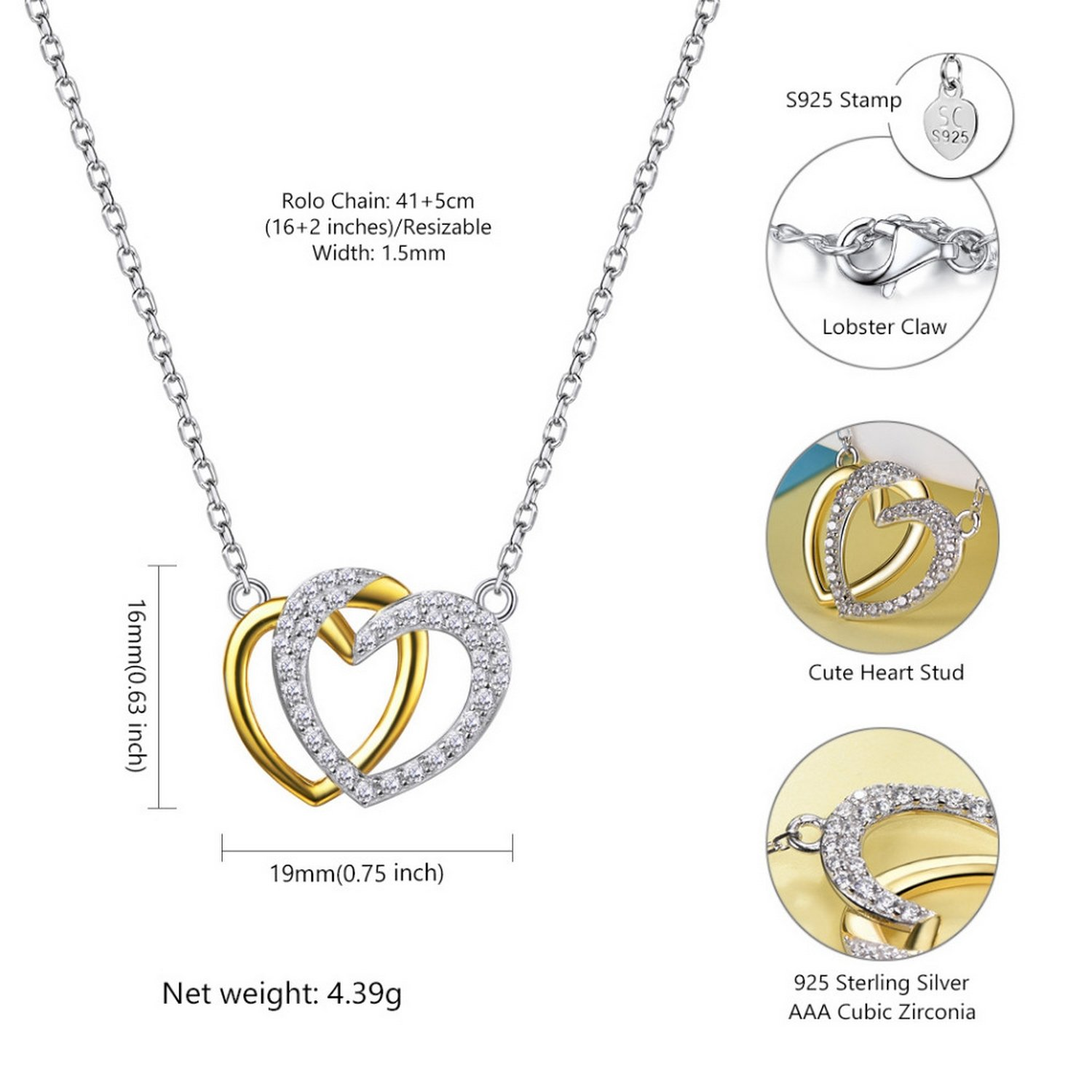 CS-DB Jewelry Silver Double Heart Love Cubic Zirconia Wedding Chain Charm Pendants Necklaces