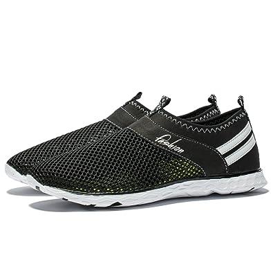 afa3571165 FLYWING Men's Quick Drying Aqua Water Shoes Mesh Slip On Beach Walking  Shoes Lightweight Outdoor Athletic