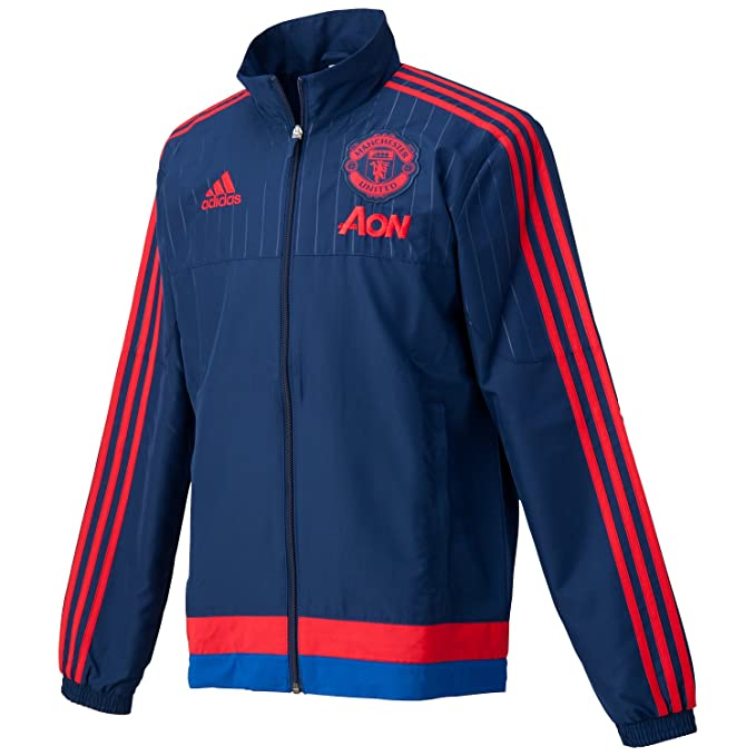 adidas MUFC PRE JKT - Chándal para Hombre, Color Azul Marino/Rojo ...