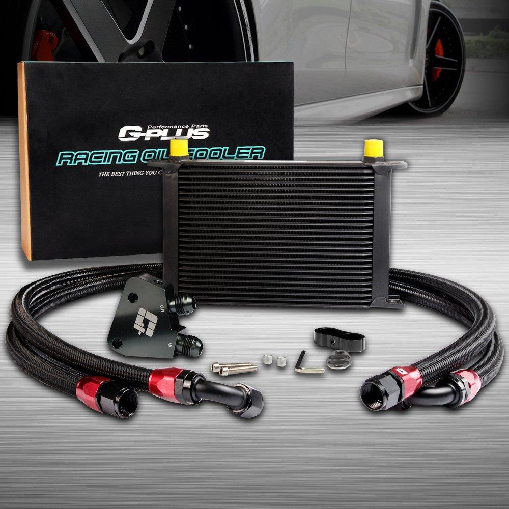 Oil Cooler Sandwich Plate Kit Black For GM LS1 LS2 LS3 AN10-10AN 25 Row GM Aluminum Engine Transmission Oil Cooler Kit