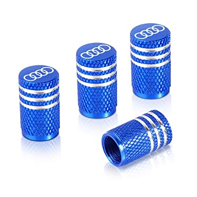 Qideloon Auto Tire Valve Caps,4pcs Aluminum Valve Stem Caps Universal fit for Car,Motorbike,Trucks,Bike and Bicycle (Blue): Automotive [5Bkhe0803861]