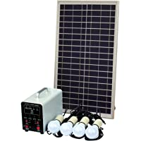 Sistema de iluminación solar (de 25 W con 4 luces LED de 5 W, panel solar, batería y cables, kit completo de iluminación…
