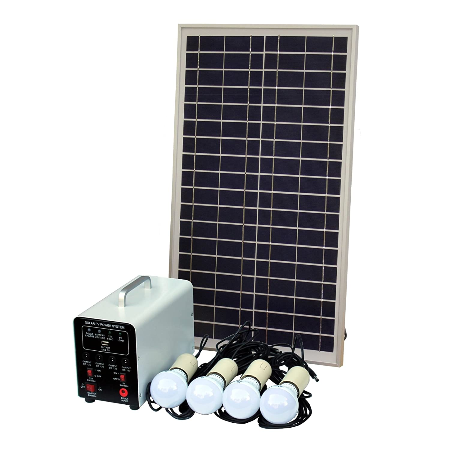 Awesome Solar System Lighting Part - 5: 25W Off-Grid Solar Lighting System With 4 X 5W LED: Amazon.co.uk:  Electronics