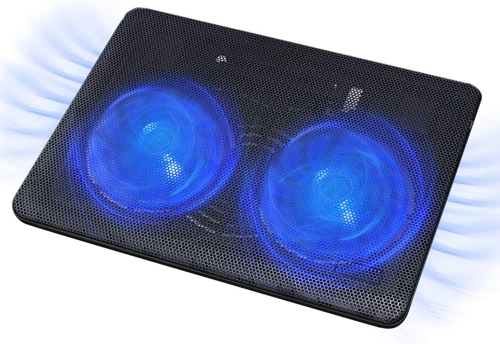 FLAGTOP Laptop Fan Cooling Pad with 2 Big Fans, Compatible with 14 - 15 inch Computer, Lightweight, Quiet, Slim, Portable Laptop Cooling Fan with 2 in 1 USB Port, Blue LED Light, Adjustable Stand