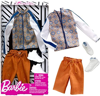 Barbie Fashion Pack with 1 Outfit of Floral Patterned Dress /& 1 Accessory Doll /& Striped Shirt Shorts /& Accessory for Ken Doll Gift for 3 to 8 Year Olds