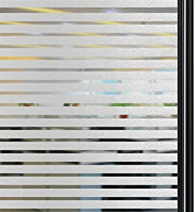 Qualsen Privacy Window Film Frosted Stripe Window Glass Films Non-Adhesive Static Cling Window Stickers for Meeting Room Home Office (35.4 x 78.7 inch)