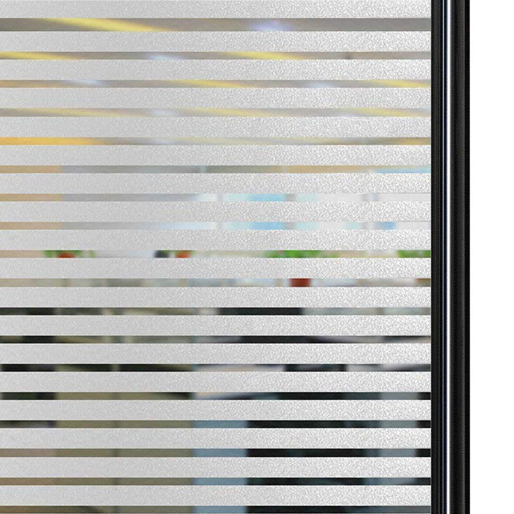 Qualsen Privacy Window Film Frosted Stripe Window Glass Films Non-Adhesive Static Cling Window Stickers for Meeting Room Home Office (35.4 x 118 inch) by Qualsen