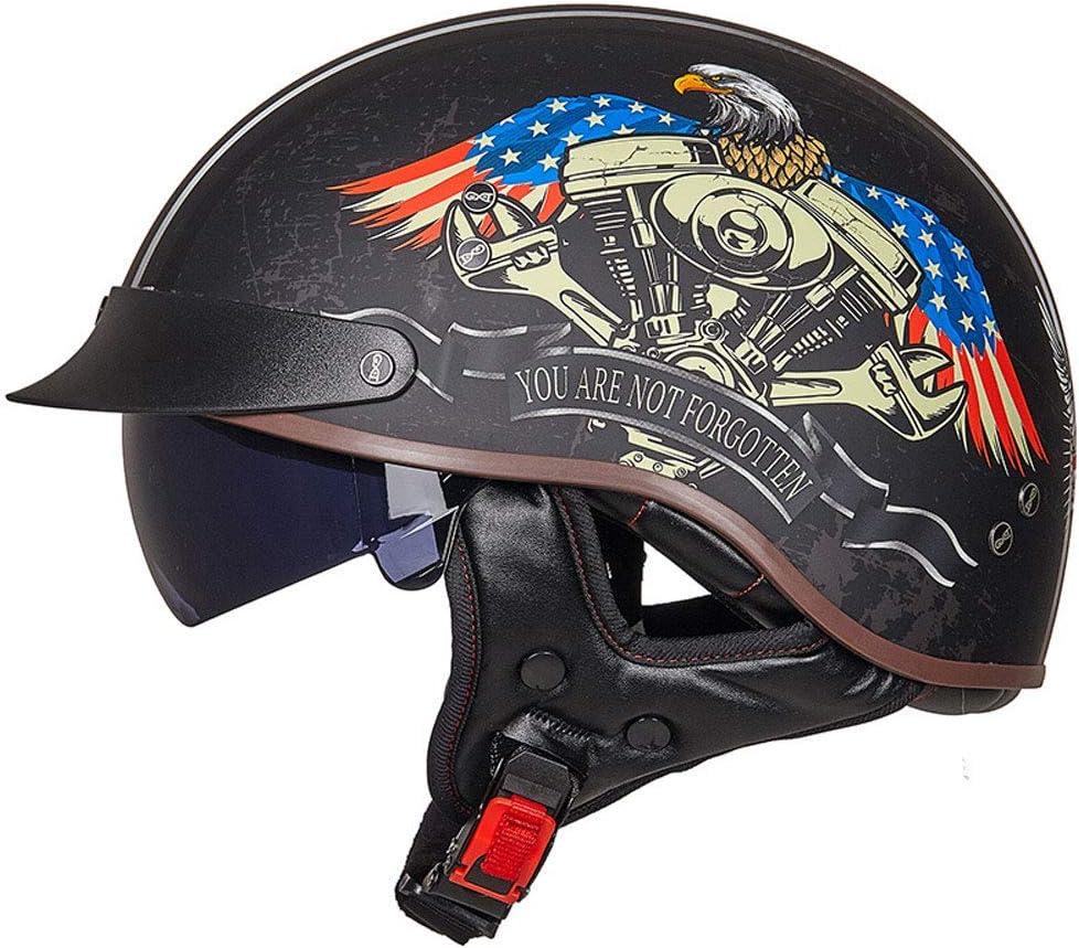 Harley Motorradhelm Herren Retro Anti-Shock Half Face Motorrad Helme mit Sonnenblende Outdoor Motocross Mountain Motocross Cap Zubeh/ör