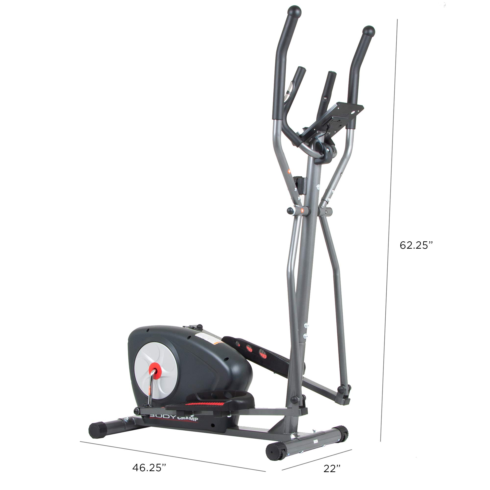 Body Champ New Elliptical Machine Trainer Magnetic Smooth Quiet Driven with LCD Media Holder Monitor and Pulse Rate Grips BR2117 by Body Champ (Image #3)