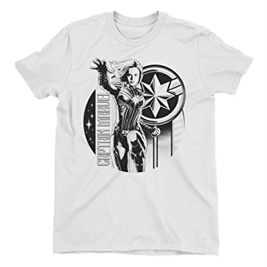 e1081a66a7bc Captain Marvel Black & White Carol Danvers Children's Unisex White T-Shirt  5-6