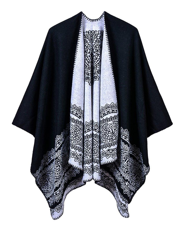 Women's Vintage Pattern Open Front Poncho Cape Shawl (Series 1-Black)