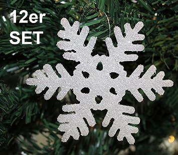 12x Glitzer Weihnachten Schneeflocke Christbaumschmuck Weihnachtsdekoration