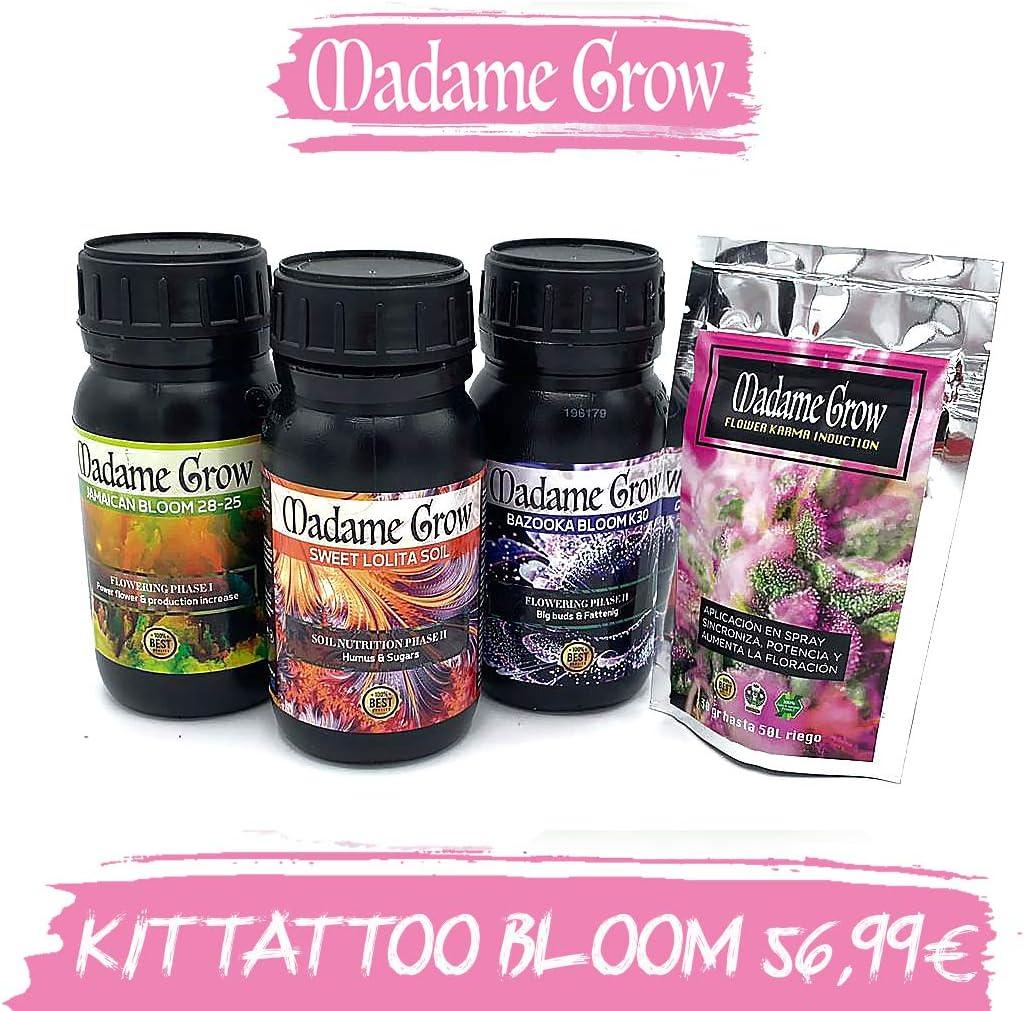 MADAME GROW / Tatoo Bloom 4 Kit/Consigue la Mejor floración par tú Planta de Marihuana o Cannabis/Multiplica Flores/Cogollos explosivos y Pesados, mas Resina - 3X 250 ml + 30gr