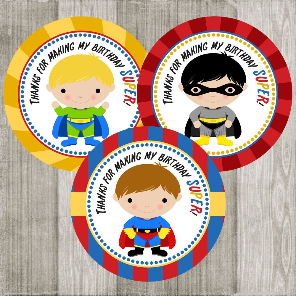 Superhero Thank You Sticker Labels for Boys - Birthday Party Favor and Envelope Seal - Set of 30